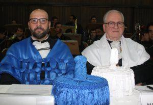 (À esq.) O novo diretor da FFCLRP, Pietro Ciancaglini, e o reitor Marco Antonio Zago, na cerimônia | Foto: Ernani Coimbra