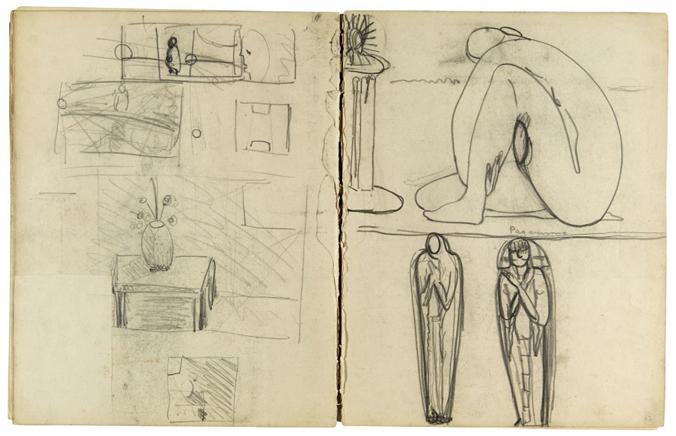Composição com nu sentado e dois esboços de múmia - Coleção/IEB