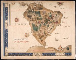 A América Meridional no mapa-múndi. Pierre Descelliers, 1546 - Original na Mapoteca do Itamaraty, RJ