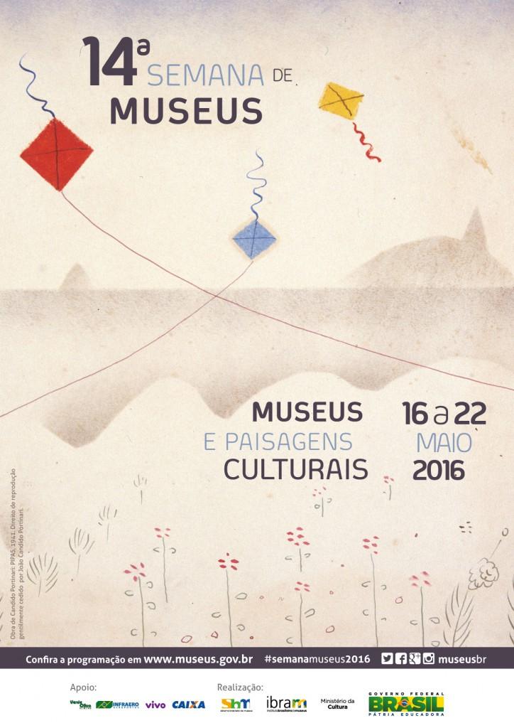 Cartaz oficial da 14ª Semana Nacional de Museus - Desenho: Candido Portinari