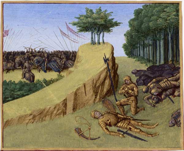 A morte de Roland na batalha de Roncevaux (1455-1460) – Iluminura: Jean Fouquet/ Wikimedia Commons