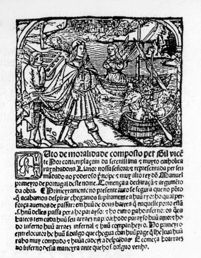 Ilustração da edição original do Auto da Barca do Inferno - Foto: Wikimedia Commons
