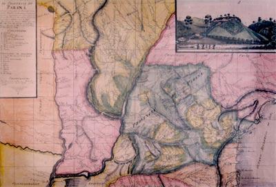 Mapa Corográfico da Província do Paraná. João Henrique Elliott, 1857 - Foto: Biblioteca Nacional do Rio de Janeiro, Documentação Cartográfica [ARC 4-1-4]]