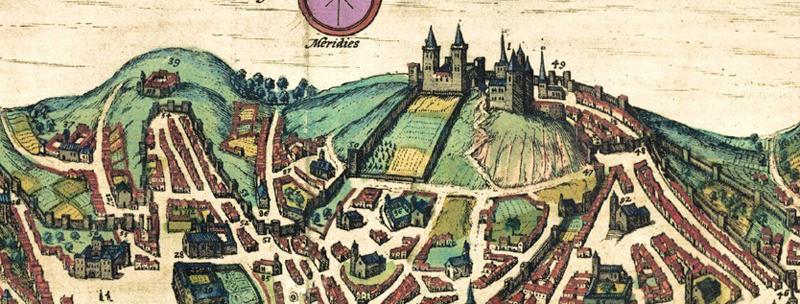 Pormenor da gravura da cidade de Lisboa em 1598 publicada por Georg Braun and Franz Hogenberg no livro Civitates orbis terrarum