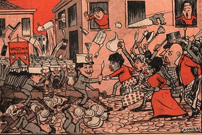 """""""A revolta da Vacina"""", charge de Leonidas publicada na revista O Malho, em 1904 - Foto: Divulgação / IEA"""