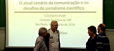 """Palestra de Maurício Tuffani """" O atual cenário da comunicação e os desafios do jornalismo científico"""" - Foto: Cecília Bastos/Usp Imagens"""