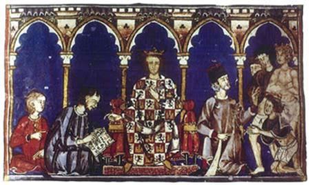 """Alfonso X, o Sábio ditando o """"livro dos jogos"""". Biblioteca do Mosteiro de San Lorenzo de El Escorial"""