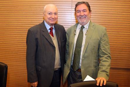Mário Giuseppe Lasano (Universitá di Torino) e Alfonso Ruiz-Miguel (Universidad Autónoma de Madrid) - Foto: Cecília Bastos/USP Imagens