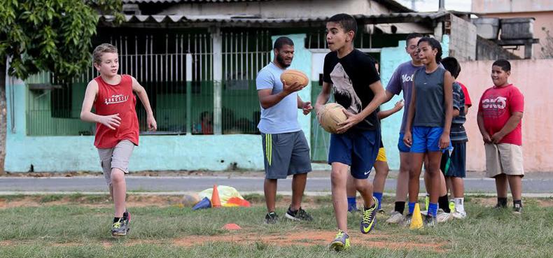 Treino de Rugbi na Associação Panoá, organização social formada por alunos da EACH-USP - Foto: Cecília Bastos/USP Imagem