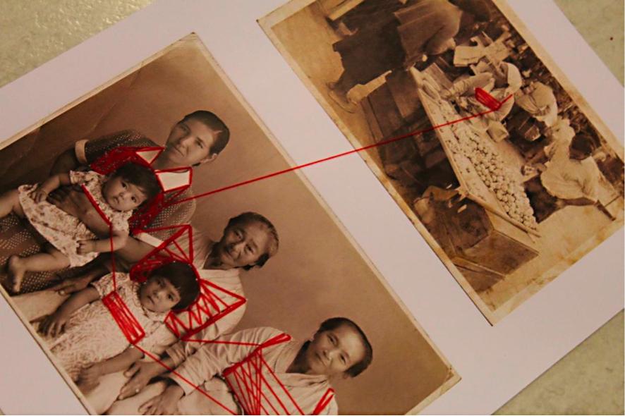 Intervenções em memórias impressas: Uma linha vermelha alia o passado e o presente