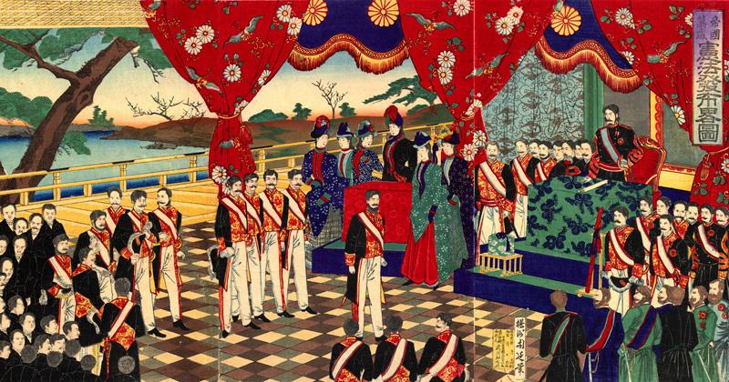 O verão de 1868 marcou o fim do shogunato Tokugawa, e uma nova era, Meiji, foi proclamada - Cópia de ilustração de T. Chikanobu