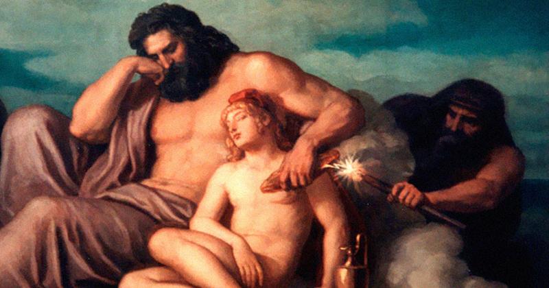 Prometeu rouba o fogo, aproveitando um momento de distração de Zeus - Obra: Christian Griepenkerl