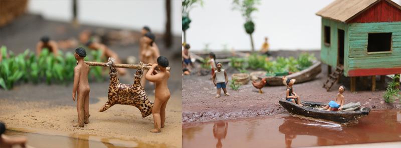 As maquetes, muito bem montadas, apresentam a realidade dos índios que as crianças desconhecem