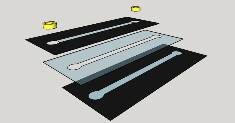 Diagrama mostra os filmes de poliéster usados na produção do dispositivo - Ilustração: Cedida pelo pesquisador