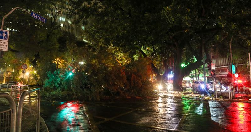 Forte temporal derruba árvores na esquina da Rua da Consolação com Avenida São Luiz e deixa a cidade no escuro - Foto Paulo Pinto via Fotos Públicas