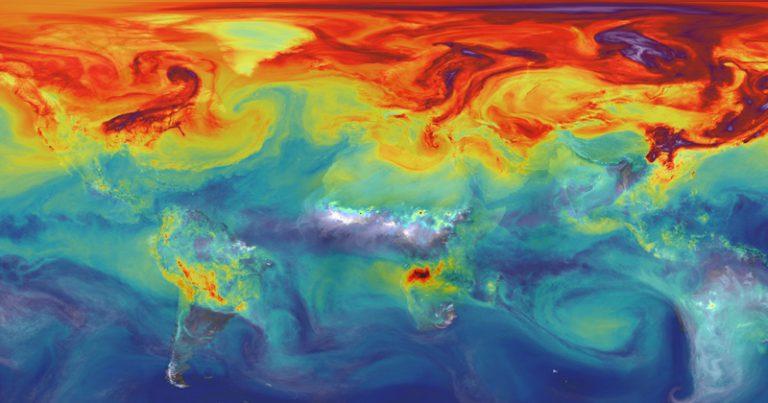Simulação da quantidade de dióxido de carbono na atmosfera da Terra se metade das emissões de aquecimento global não forem absorvidas – Imagem: Nasa/Wikimedia Commons