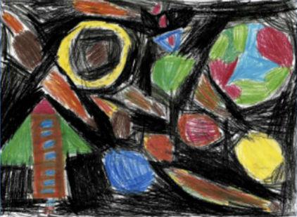 """""""Sistema Solar"""", de Kleber Alejandro, 7 anos. Museu Virtual do Desenho da Criança, projeto citado no livro"""