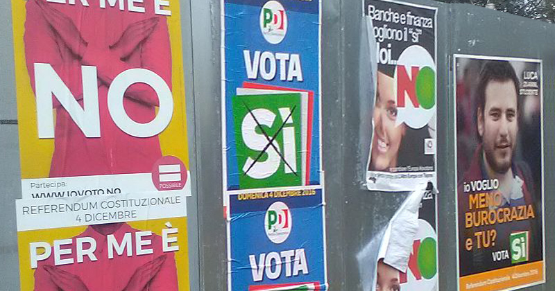 Propaganda sobre o referendo constitucional de 2016 na Itália - Foto: Wikimedia Commons