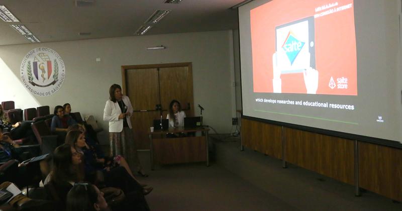 Apresentação do aplicativo no Anfiteatro da Faculdade de Odontologia - Foto: Marcos Santos/USP Imagens