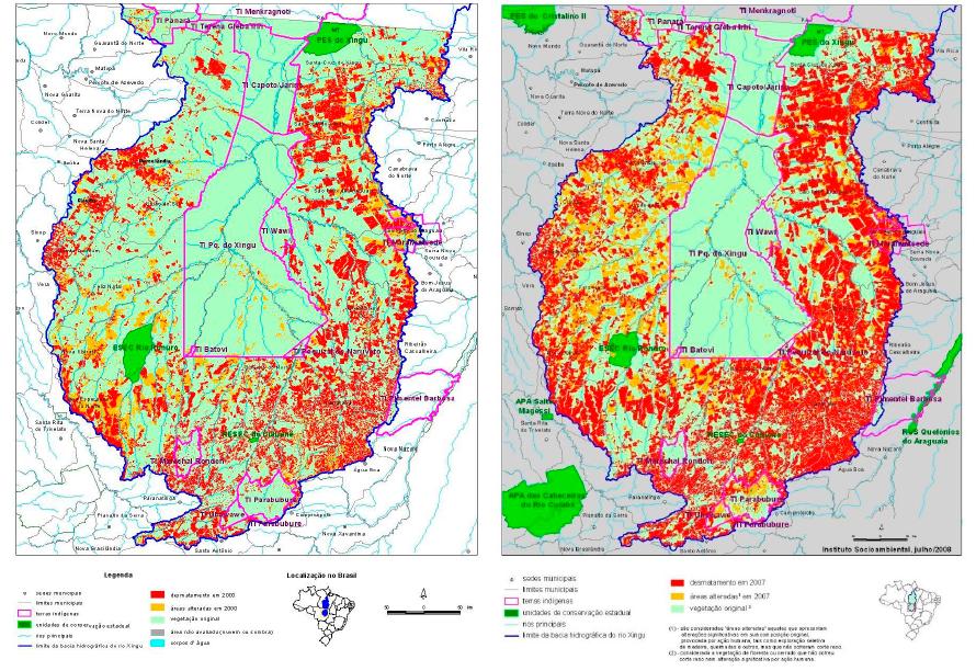 Região das cabeceiras do Rio Xingu: desmatamento até 2000 (à esquerda) e até 2007 (à direita) - Imagem cedida pela pesquisadora