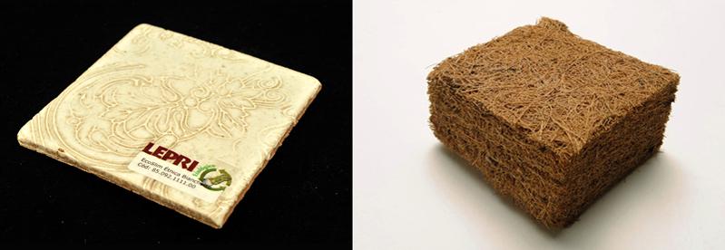 Peça de cerâmica, à esquerda, e placa acústica em fibra de coco também são alguns dos materiais disponíveis para consulta - Foto: Projeto Materialize