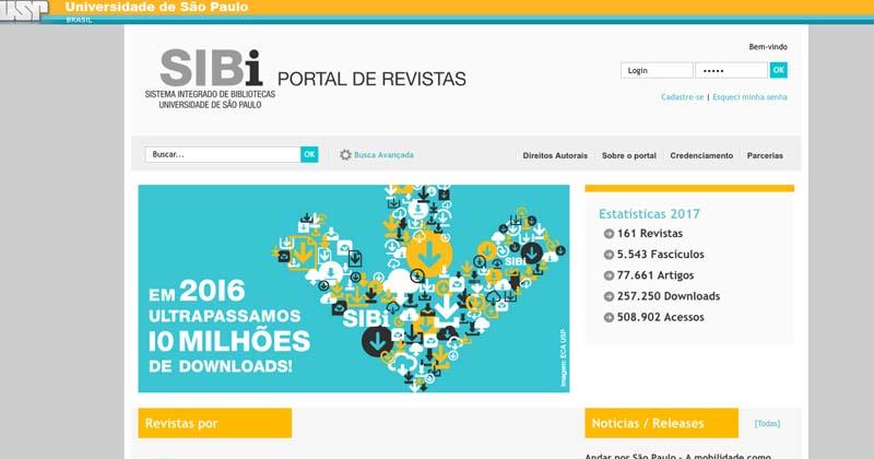 O Portal de Revistas da USP nasceu em 2008 e atualmente conta com 161 títulos disponíveis para download
