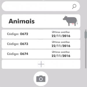 Layout do aplicativo — Login e cadastro dos animais.