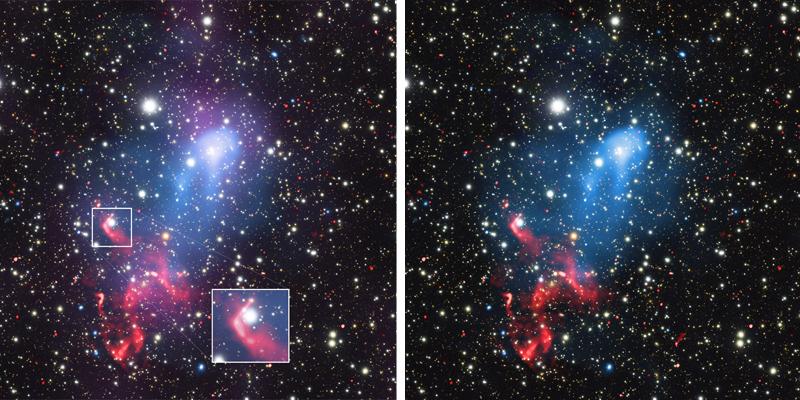 A emissão em rádio (vermelho) localizada ao sul é provavelmente produzida por processos similares pois vários buracos negros devem estar nessa região. - Imagem: Reinout van Weeren (Smithsonian External)