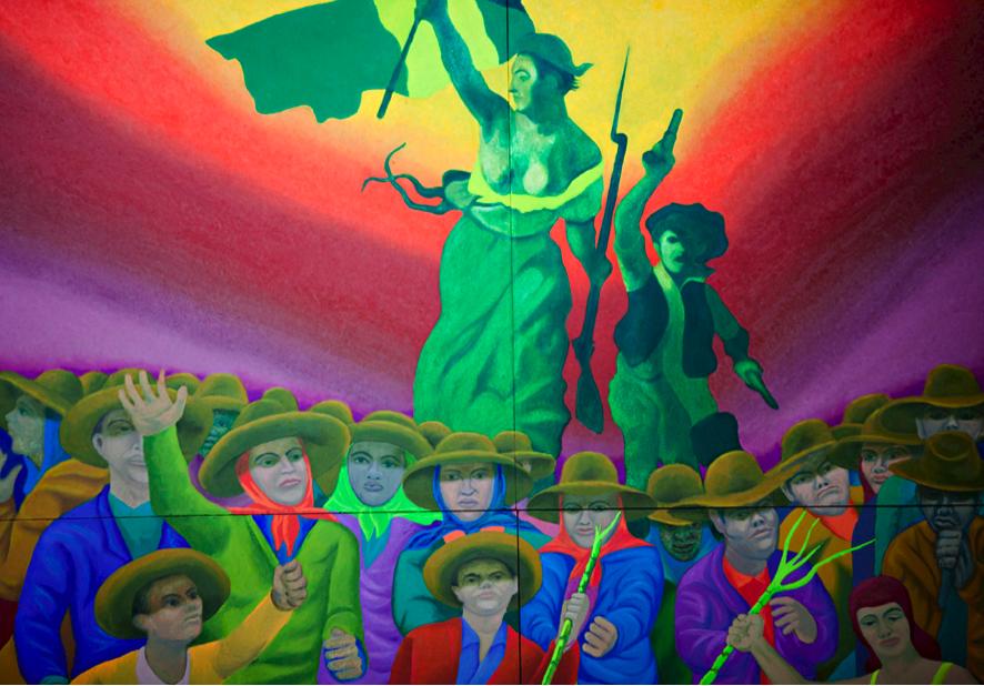 Fig.6. Gontran Guanaes Netto. Detalhe de Marianne I, 1989. Parte do conjunto de murais chamado A liberdade e o Povo. Painel, óleo sobre madeira, 2,0 X 2,0 m. Estação Marechal Deodoro. Fonte da imagem: http://www.metro.sp.gov.br/cultura/arte-metro/arte-metro.aspx, acesso 18.01.2017.