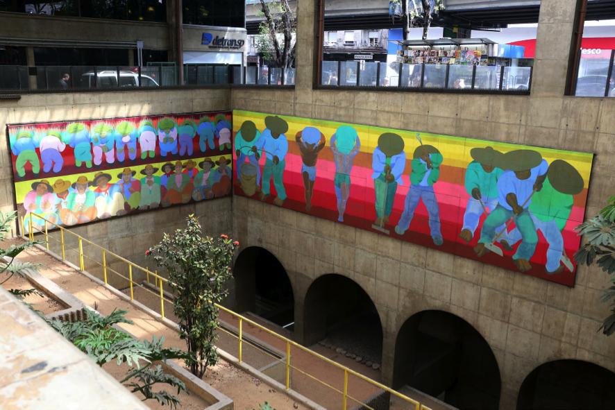 Fig.8. Gontran Guanaes Netto - Aspectos da População Brasileira II, 1989. Painel, óleo sobre madeira, 4,0 X 10,0m. Estação Marechal Deodoro. Foto: Marcos Santos/USP Imagens
