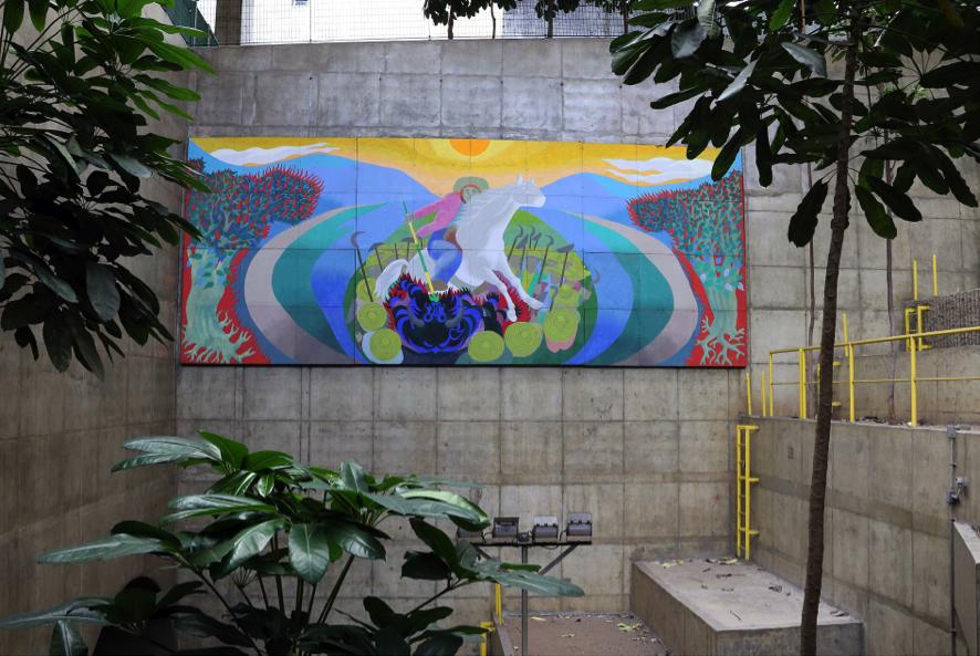 Fig.9. Gontran Guanaes Netto - Aspectos da População Brasileira III, 1989. Painel, óleo sobre madeira, 4,0 X 10,0m. Estação Marechal Deodoro - Foto: Marcos Santos/USP Imagens.