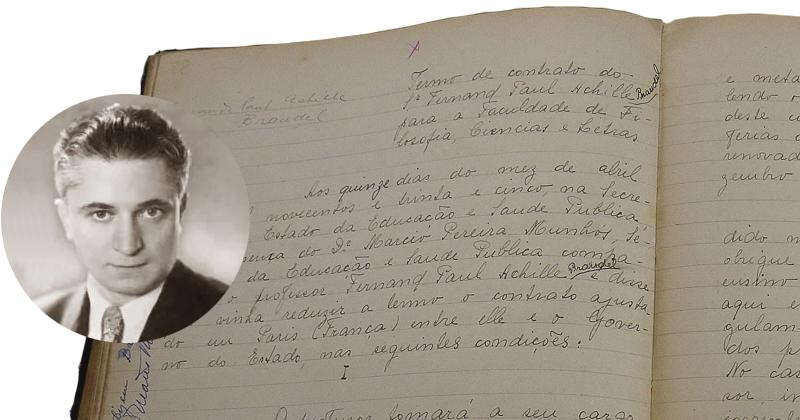 Detalhe de livro contendo o contrato de - Foto: Marcos Santos/USP Imagens