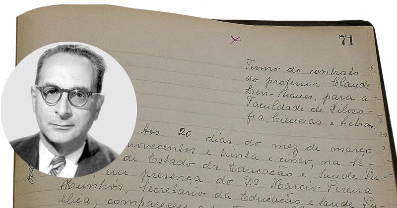 Detalhe de livro contendo o contrato de Paul Vanorden Shaw - Foto: Marcos Santos/USP Imagens