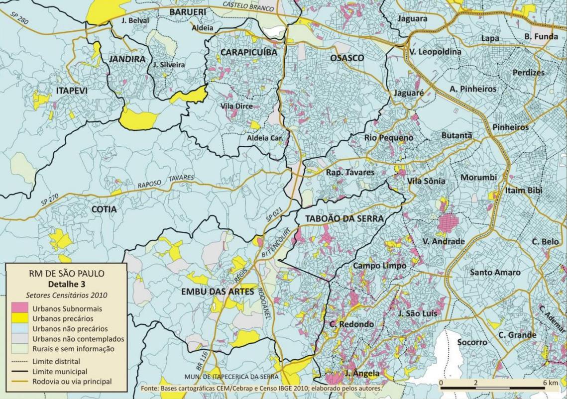 Região de alta densidade demográfica que contém o maior contingente de precariedade habitacional de todo o município. Destaque para o Jardim Ângela, Jardim São Luis, Capão Redondo, Vila Andrade e Campo Limpo