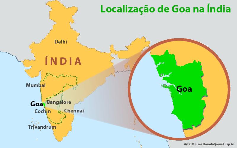 Vizinha de Maharashtra, cuja capital é Mumbai, Goa é hoje um estado indiano - Arte: Moisés Dorado/jornal.usp.br