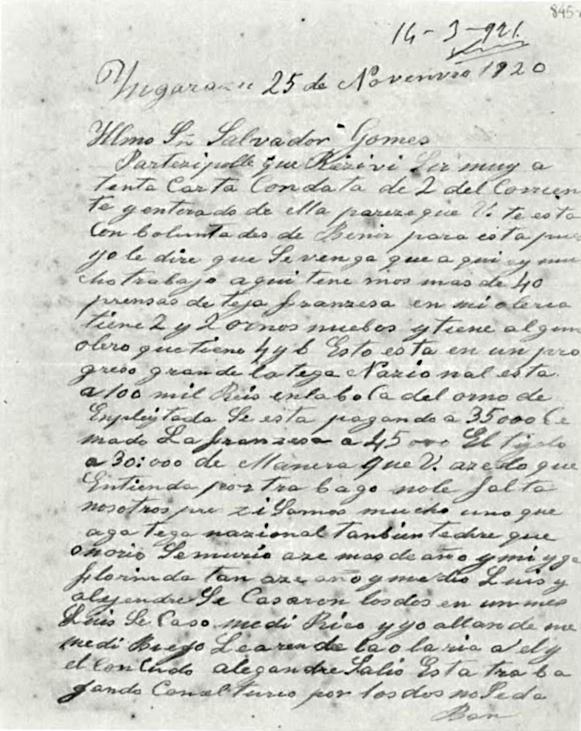 Carta de imigrante espanhol, datada de 1920, do acervo do Arquivo Público do Estado de São Paulo - Foto: Reprodução