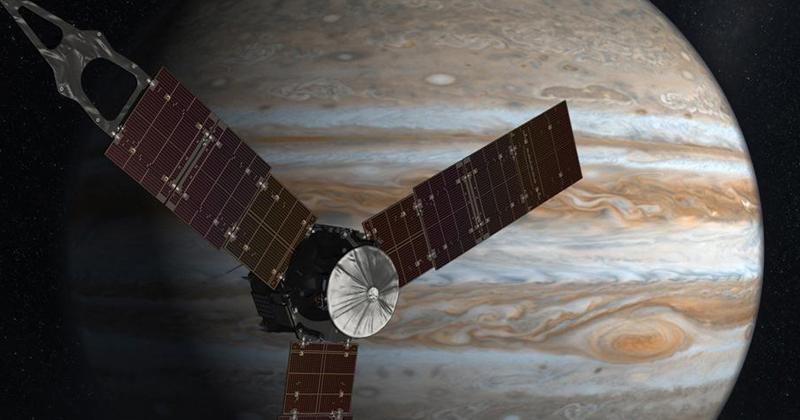 Concepção artística da nave espacial Juno que orbita Jupiter - Imagem: NASA/JPL-Caltech
