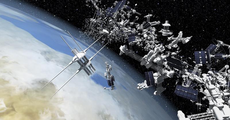 Imagem gerada por computador de lixo espacial em órbita ao redor da Terra
