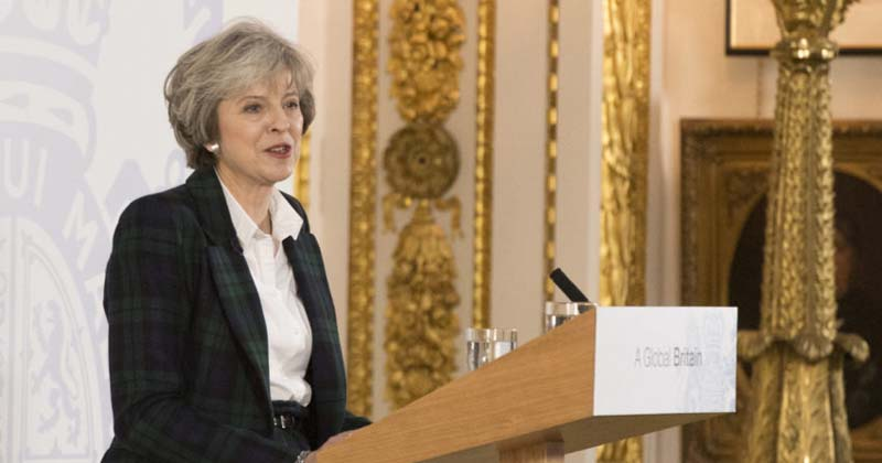 A Primeira Ministra da Grã Bretanha, Theresa May, durante coletiva de imprensa sobre as 12 prioridades do governo para negociar a saída do Reino Unido da União Européia - Foto: Fotos Públicas Prime Minister Theresa May delivers her speech on BREXIT. The Prime Minister laid out her 12 point plan on how the United Kingdom will leave . The speech was held at Lancaster House, London in front of Cabinet Minister, Foreign dignitary's, Business Leaders and member of the press.