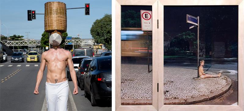 Temporary Monument #5: Tigre (à esq.) - Foto: Pedro Agilson e Temporary Monument #6: Cadeado (à dir.) - Foto: Rane Souza via assessoria da exposição
