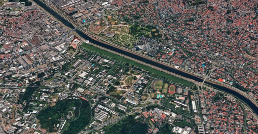 Imagem 09. Raia olímpica da USP ao centro da imagem - Fonte: Googlemaps
