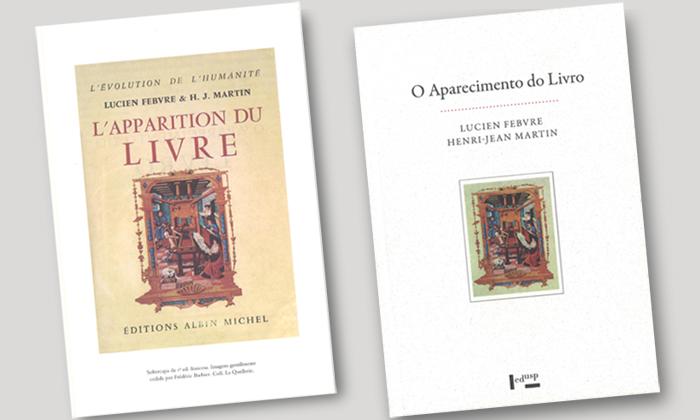 Sobrecapa da primeira edição francesa de O Aparecimento do Livro e Capa da nova edição lançada pela Edusp