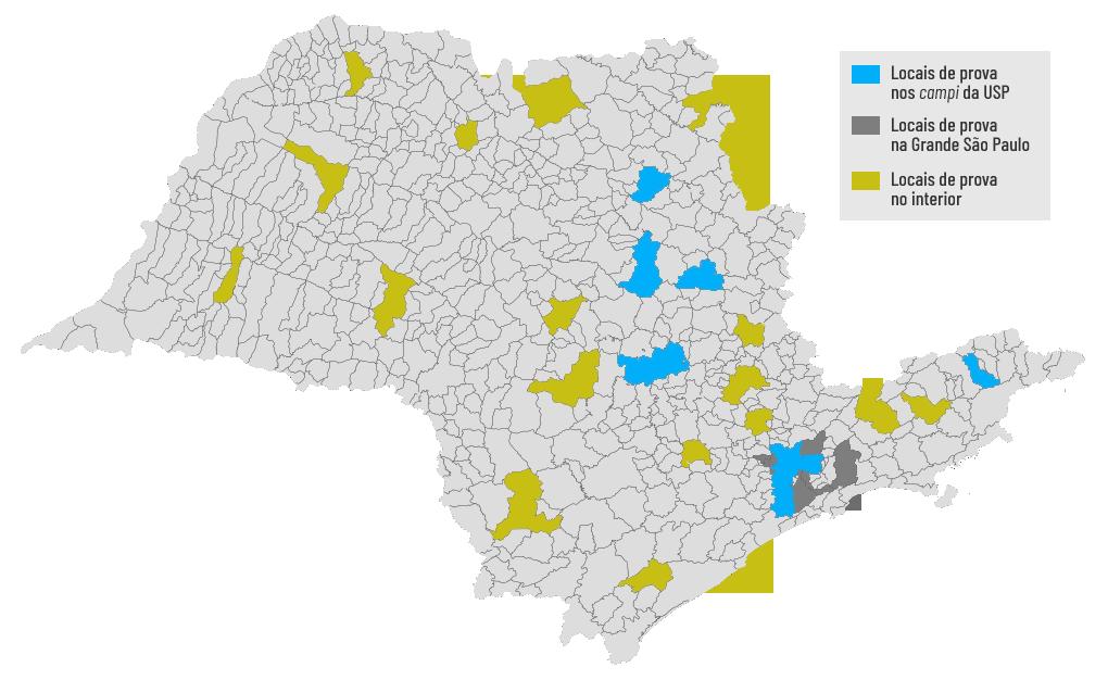 fuvest 2020 mapa de são paulo indicando os locais de realização e aplicação das provas