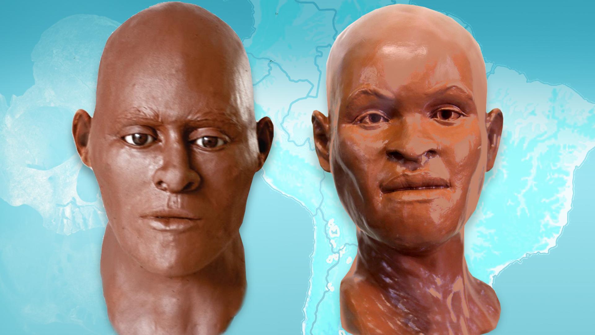 Novos dados genéticos mudam como imaginamos o povo de Lagoa Santa. À esquerda, a nova reconstrução facial do Povo de Luzia, feita a partir do crânio de um homem sepultado na Lapa do Santo. Ele tem características ameríndias comuns. À direita, a reconstrução de Luzia, com traços marcadamente africanos.