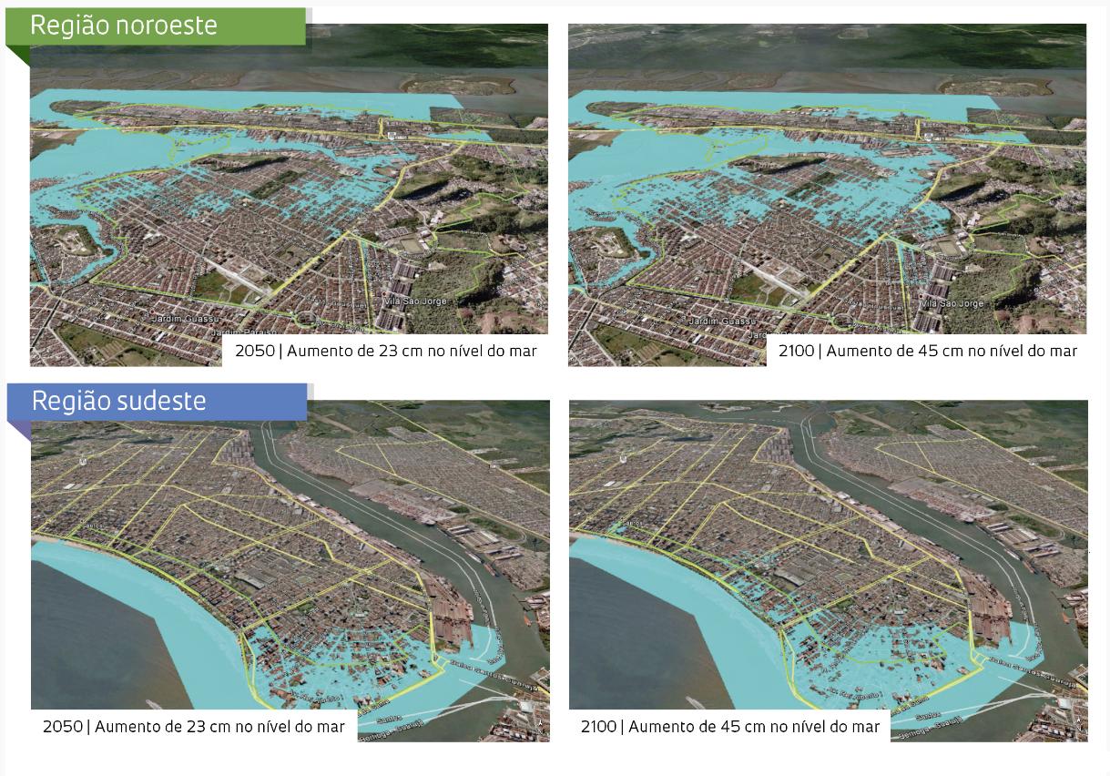 Simulações de inundação por elevação do nível do mar em Santos