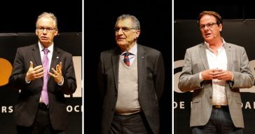 Os reitores Marcelo Knobel (Unicamp), Vahan Agopyan (USP) e Sandro Valentini (Unesp) - Foto: Cecília Bastos/USP Imagens