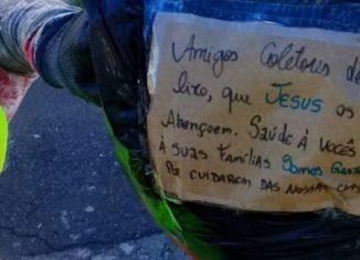 Paulistanos deixam agradecimento  para os trabalhadores que recolhem lixo no meio de uma pandemia do corolavírus - Foto: Secom PMSP via Fotos Públicas