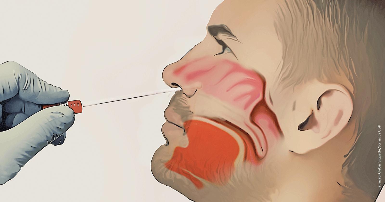 Cavidade Nasal SWAB Ilustração Cleber Siquette/Jornal da USP