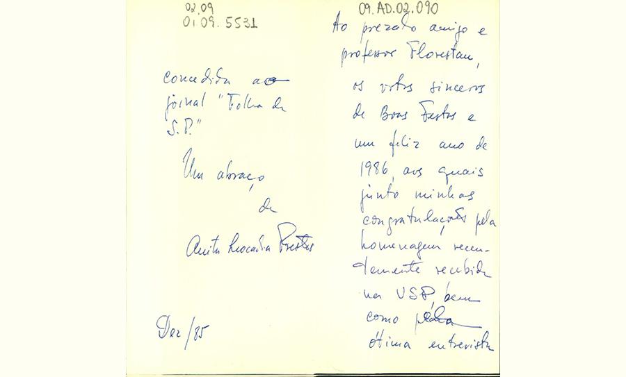 """Cartão postal de Anita Prestes para Florestan: """"Um feliz ano de 1986"""""""