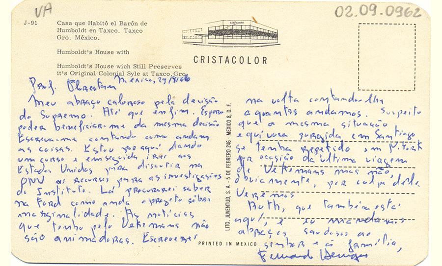 Cartão postal de Fernando Henrique Cardoso para Florestan Fernandes